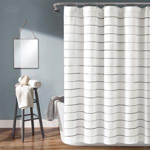 Lush Decor Ombre Stripe Yarn Dyed Shower Curtain